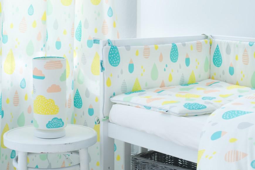 Pastel Raindrops Bedding, bedside lamp & crib bumper